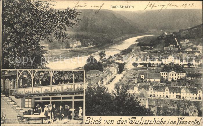 AK / Ansichtskarte Carlshafen Blick von der Juliushoehe ins Wesertal Restaurant Kat. Bad Karlshafen