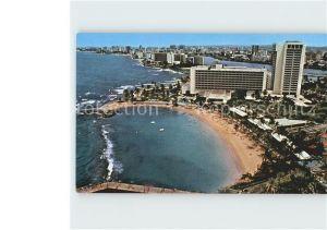 AK / Ansichtskarte San Juan Puerto Rico Caribe Hilton International Hotel Beach aerial view Kat. San Juan