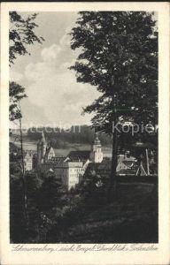 AK / Ansichtskarte Schwarzenberg Erzgebirge Durchblick vom Todenstein Schloss Kirche Kupfertiefdruck Kat. Schwarzenberg