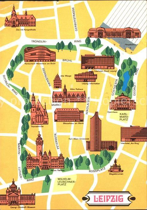 leipzig sehenswürdigkeiten karte AK / Ansichtskarte Leipzig Stadtplan mit Sehenswuerdigkeiten Kat  leipzig sehenswürdigkeiten karte