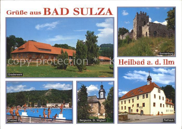 AK / Ansichtskarte Bad Sulza Gradierwerk Sonnenburg Rathaus Bergsulza St Wigbert Kirche Freibad Kat. Bad Sulza