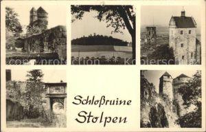 AK / Ansichtskarte Stolpen Schlossruine  mit Seiger und Koselturm Kat. Stolpen