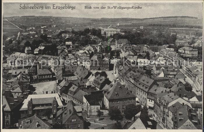 AK / Ansichtskarte Schneeberg Erzgebirge Panorama Blick von der St Wolfgang Kirche Kat. Schneeberg