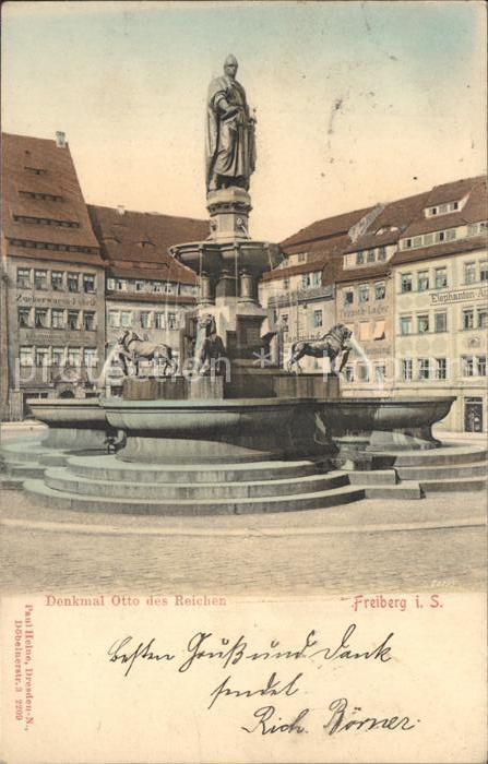 AK / Ansichtskarte Freiberg Sachsen Denkmal Otto des Reichen Statue Brunnen Kat. Freiberg