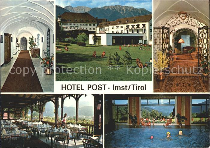 AK / Ansichtskarte Imst Tirol Hotel Restaurant Post Hallenbad Hotelpark Schloss Sprengenstein Kat. Imst