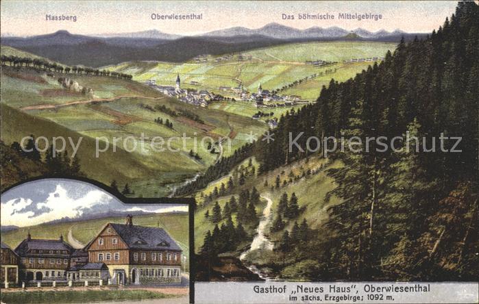 AK / Ansichtskarte Oberwiesenthal Erzgebirge Panorama Boehmisches Mittelgebirge Gasthof Neues Haus Kuenstlerkarte Kat. Oberwiesenthal