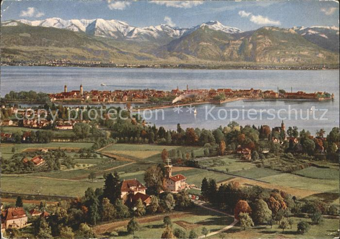 AK / Ansichtskarte Lindau Bodensee Blick vom Hoyerberg Alpenpanorama Kat. Lindau (Bodensee)