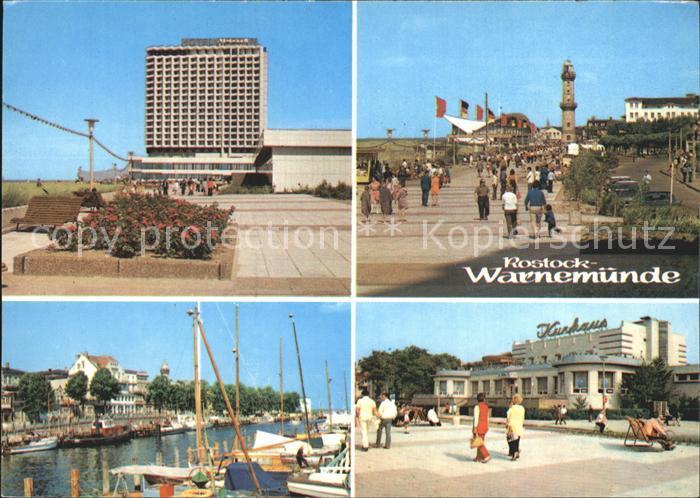 AK / Ansichtskarte Warnemuende Ostseebad Hotel Neptun Strandpromenade Gaststaette Teepott Leuchtturm Alter Strom Kurhaus Kat. Rostock