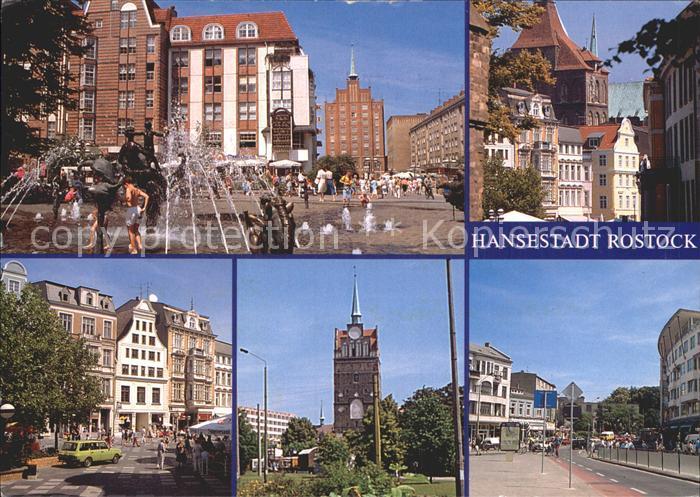 AK / Ansichtskarte Rostock Mecklenburg Vorpommern Teilansichten Hansestadt Innenstadt Brunnen Kroepeliner Tor Kat. Rostock