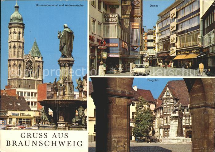 AK / Ansichtskarte Braunschweig Brunnendenkmal Andreaskirche Damm Burgplatz Burgloewe Kat. Braunschweig