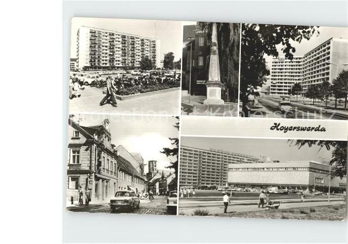 AK / Ansichtskarte Hoyerswerda Hochhaus Am Knie Centrum Warenhaus Friedrichstrasse Kirchstrasse Kat. Hoyerswerda