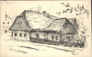 AK / Ansichtskarte Hronov Kohlezeichnung Bauernhaus / Hronow /