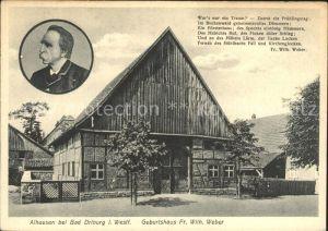 AK / Ansichtskarte Alhausen Westfalen Geburtshaus des Dichters Weber Kat. Bad Driburg