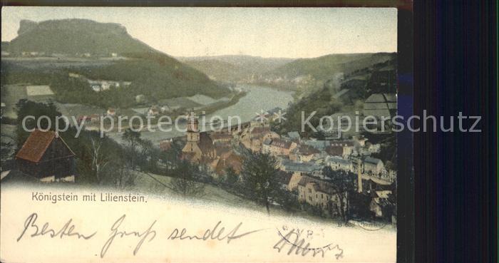 AK / Ansichtskarte Koenigstein Saechsische Schweiz Panorama mit Lilienstein Tafelberg Kat. Koenigstein Saechsische Schweiz