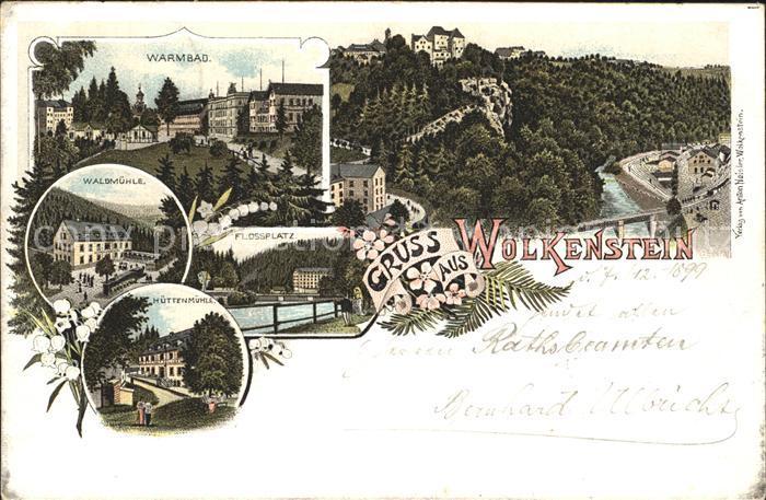 AK / Ansichtskarte Wolkenstein Erzgebirge Warmbad Restaurant Waldmuehle Huettenmuehle Flossplatz Reichspost Kat. Wolkenstein