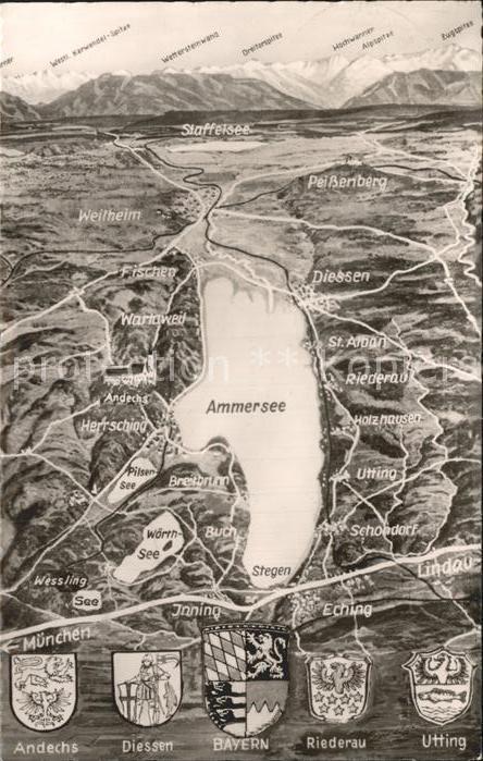 AK / Ansichtskarte Diessen Ammersee Panorama vom Ammersee gegen Wettersteingebirge Stadtwappen Kat. Diessen a.Ammersee