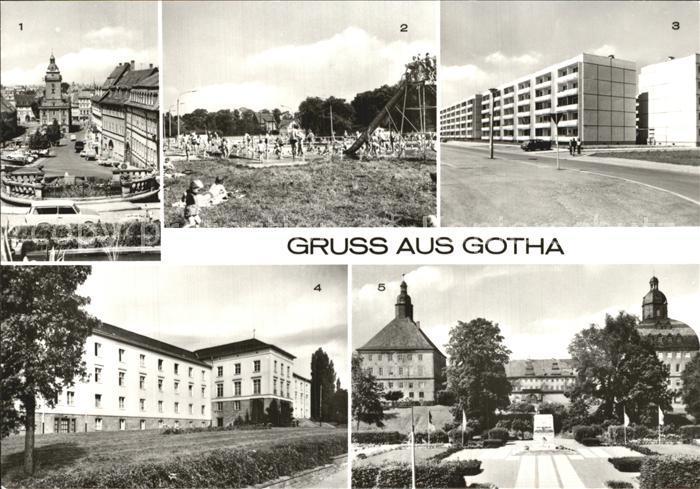AK / Ansichtskarte Gotha Thueringen Hauptmarkt Volksbad Neubauten Fachschule fuer Finanzwirtschaft Schloss Kat. Gotha