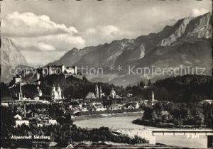 AK / Ansichtskarte Salzburg Oesterreich Partie an der Salzach Festung Hohensalzburg Karawanken Kat. Salzburg
