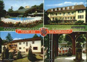 AK / Ansichtskarte Bad Salzhausen Sole Bewegungsbad Muettergenesungsheim Pension Waldhof Kurkonzert Kat. Nidda