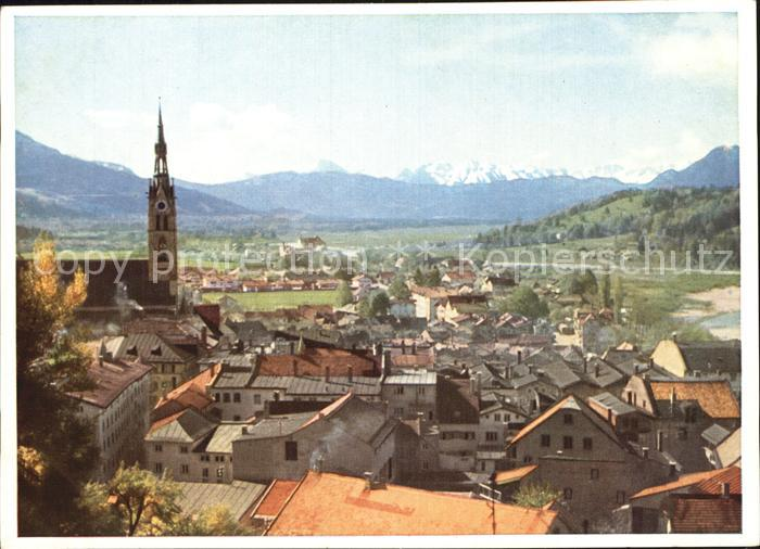 AK / Ansichtskarte Bad Toelz Ortsansicht mit Kirche mit Blick auf die Alpen Kat. Bad Toelz