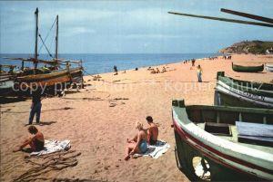 AK / Ansichtskarte Calella Vista parcial de la playa Strand Fischerboote Kat. Barcelona
