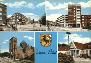 AK / Ansichtskarte Wanne Eickel Kurhausstrasse Hauptstrasse Sol Thermalbad Loewen Kirche Wappen Kat. Herne