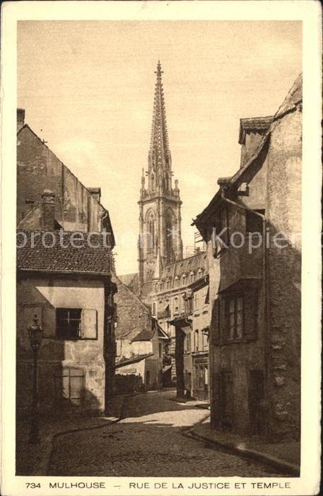 AK / Ansichtskarte Mulhouse Muehlhausen Rue de la Justice et Temple Collection l Alsace Kat. Mulhouse