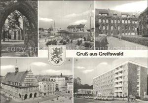AK / Ansichtskarte Greifswald Klosterruine Ortsteil Eldena Hafen Marineschule Rathaus