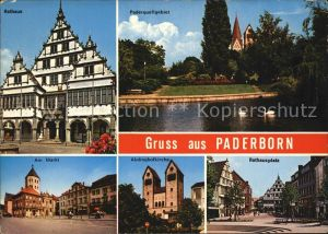 AK / Ansichtskarte Paderborn Rathaus Paderquellgebiet Rathausplatz Abdinghofkirche Am Markt Kat. Paderborn