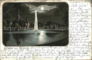 AK / Ansichtskarte Leipzig Johannapark Teich Fontaene Lutherkirche im Mondschein Litho Kat. Leipzig