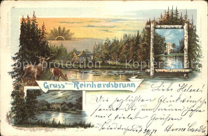AK / Ansichtskarte Reinhardsbrunn Schloss bei Sonnenaufgang und im Mondschein Teich Hirsch Reh Litho Kat. Friedrichroda