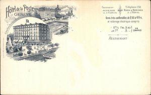 AK / Ansichtskarte Geneve GE Hotel de la Poste Litho Kat. Geneve