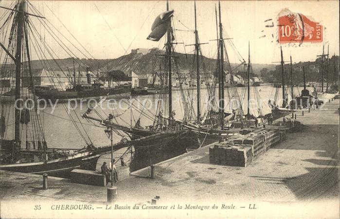 AK / Ansichtskarte Cherbourg Octeville Basse Normandie Bassin du Commerce et la Montagne du Roule Bateaux Kat. Cherbourg Octeville