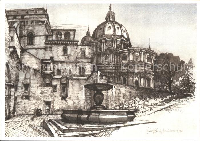 AK / Ansichtskarte Kuenstlerkarte Lino Bianchi Barriviera Citta del Vaticano Fontana del Forno e Torre Borgia  Kat. Kuenstlerkarte