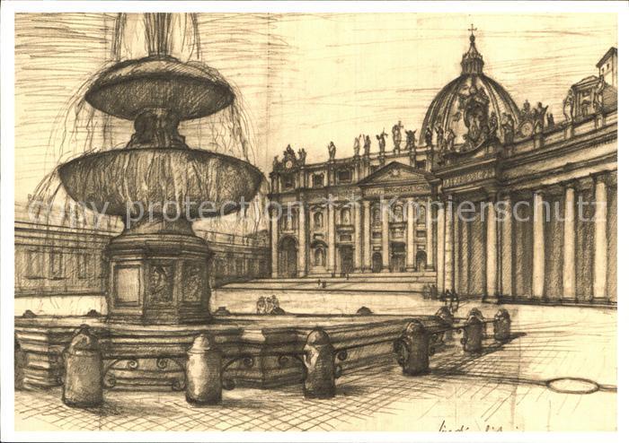 AK / Ansichtskarte Kuenstlerkarte Lino Bianchi Barriviera Citta del Vaticano Fontana Piazza S. Pietro Kat. Kuenstlerkarte