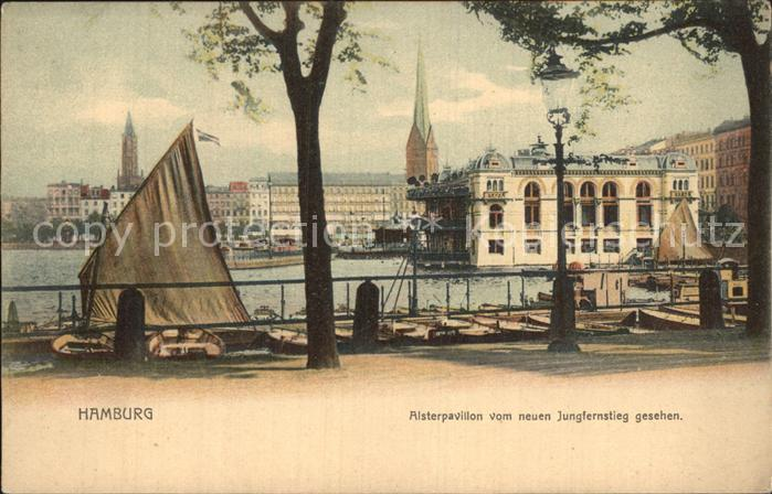 AK / Ansichtskarte Hamburg Alsterpavillon vom neuen Jungfernstieg gesehen Kat. Hamburg