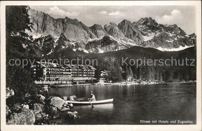 AK / Ansichtskarte Eibsee Bootfahren Hotels Zugspitze Wettersteingebirge Kat. Grainau