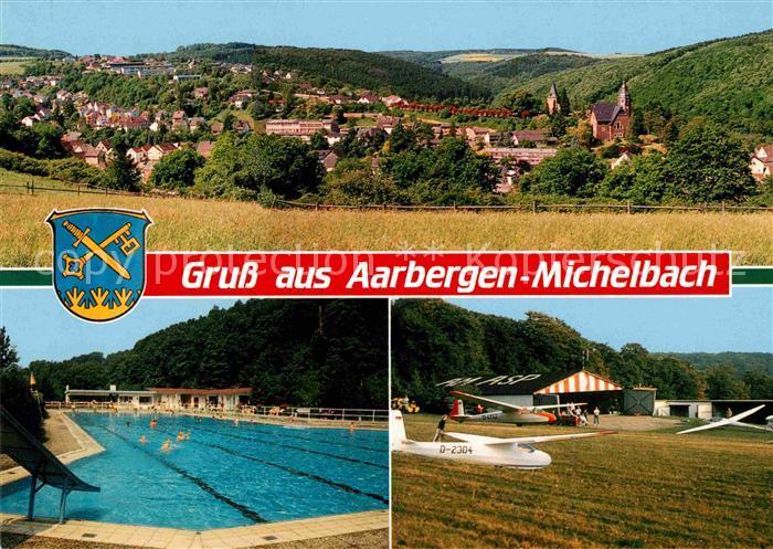 AK / Ansichtskarte Michelbach Aarbergen Segelflugplatz Schwimmbad Panorama Kat. Aarbergen
