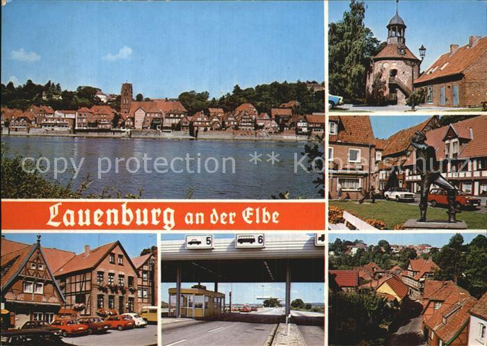AK / Ansichtskarte Lauenburg Elbe Panorama Schlossturm Statue Zoll Teilansicht Kat. Lauenburg  Elbe
