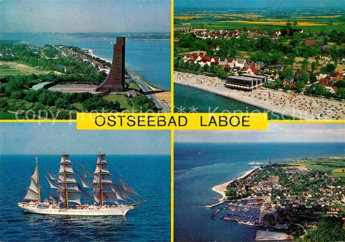 AK / Ansichtskarte Laboe U Boot Marine Erhenmal Strand Hafen Segelschiff Fliegeraufnahme Kat. Laboe