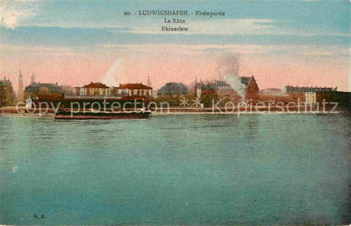 AK / Ansichtskarte Ludwigshafen Rhein Rheinpartie Binnenschiff Kat. Ludwigshafen am Rhein