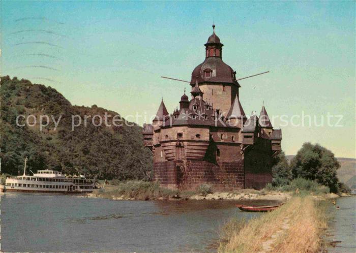 AK / Ansichtskarte Kaub Pfalz Burg Pfalzgrafenstein Rhein Dampfer Kat. Kaub