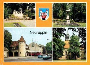 AK / Ansichtskarte Neuruppin Fontanedenkmal Tempelgarten Bahnhof Rheinsberger Tor Pfarrkiche Kat. Neuruppin