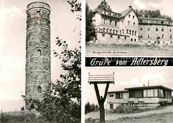 AK / Ansichtskarte Schmiedefeld Rennsteig Aussichtsturm Adlersberg Berggaststaette Stutenhaus Handabzug Kat. Schmiedefeld Rennsteig