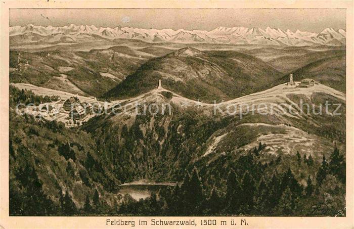 AK / Ansichtskarte Feldberg Schwarzwald Panorama Feldsee Hotel Feldberger Hof Feldbergturm Alpenkette Kuenstlerkarte Kat. Feldberg (Schwarzwald)
