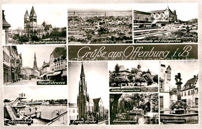Ak ansichtskarte offenburg kirche hauptstrasse for Schwimmbad offenburg offnungszeiten