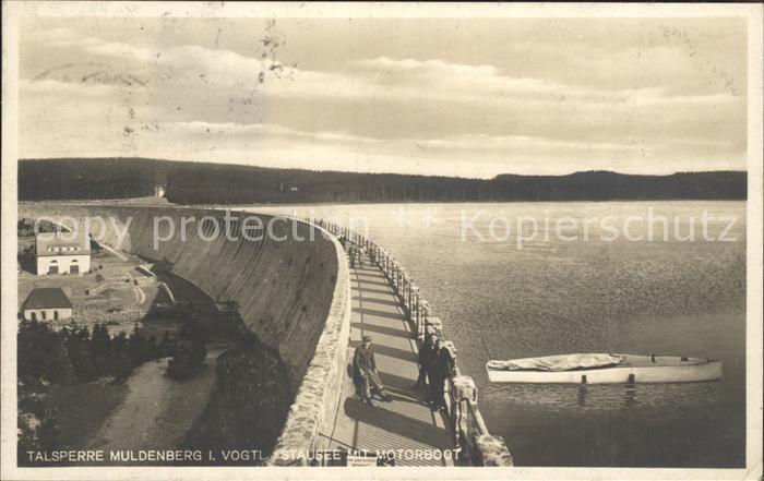 AK / Ansichtskarte Muldenberg Vogtland Talsperre Sperrmauer Stausee Motorboot Kat. Schoeneck Vogtland