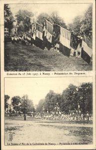 AK / Ansichtskarte Nancy Lothringen Concours du 23 Juin 1907 Presentation des Drapeaux Jeanne d Arc de la Cathedrale Pyramide Kat. Nancy
