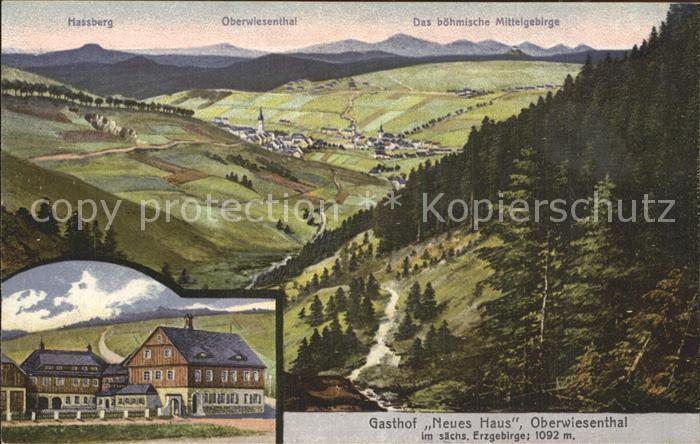 AK / Ansichtskarte Oberwiesenthal Erzgebirge Panorama Boehmisches Mittelgebirge Gasthof Neues Haus Kat. Oberwiesenthal