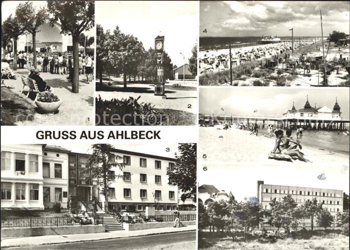 AK / Ansichtskarte Ahlbeck Ostseebad Konzertpavillon Stranduhr FDGB Erholungsheim Seebruecke Strand Kat. Heringsdorf Insel Usedom